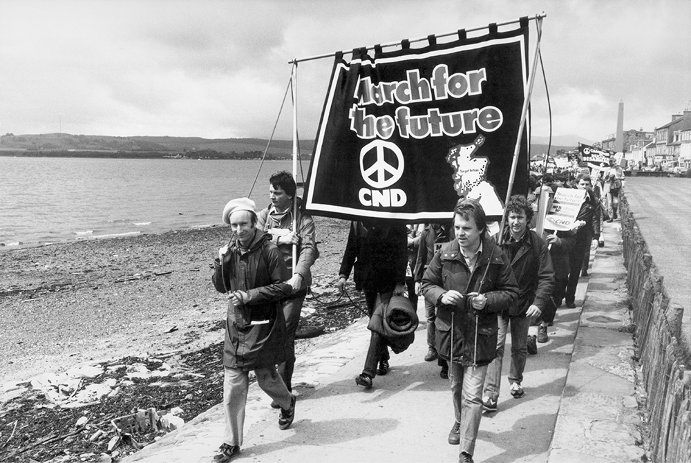 Peace march from Faslane nuclear base to Glasgow, Scotland, June 1981. 